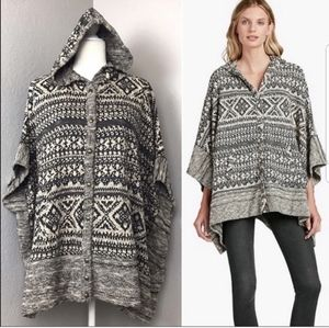 Lucky Brand Oversized Hooded Poncho Sweater.